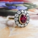 Antique Ruby Diamond Ring Circa 1915 3.25ct t.w. Old European Cut Diamond Ruby Anniversary Engagement Ring 18k Yellow Gold Sterling Silver