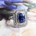Vintage Sapphire Diamond Ring Circa 1930's Art Deco Double Halo Cocktail Birthstone Engagement Ring Platinum