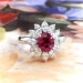 Romantic Estate Ruby and Marquise Diamond Halo Ring 18k