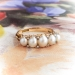 Victorian Antique Pearl Ring Circa 1850's Rose Cut Diamond Natural Pearl Stacking Wedding Band Ring 18k Yellow Gold
