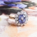 Lovely 2.11ct Lavender Sapphire & .70cts Old Mine Cut Diamond Halo Ring 18k Rose Gold Platinum Engagement Anniversary Ring