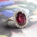 Regal Antique Style 5.07ct t.w. Red Tourmaline & Old European Cut Diamond Halo Ring 18k Yellow Gold