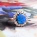 Bluebird 3.13ct t.w. Victorian Influenced Antique Black Opal & Diamond Halo 18k Rose Gold Ring
