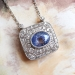 Beautiful 4.78 Blue Violet Sapphire & 1.90cts of Single Cut Transitional Cut Diamonds Necklace Platinum 18' Inches