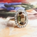 Rare Brazilian 2.95ct Cushion Cut Andalusite & .60ct Old Single Cut Diamond Halo Ring 18k Yellow Gold Platinum