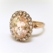 Precious 5.34ct Peach Sapphire & .20cts Rose Cut Diamond Halo Unique Engagement Birthstone Ring 18k Rose Gold