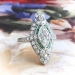 Art Deco Marquise Diamond and Emerald Navette Ring in Platinum