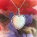 Antique Crystal Opal and Diamond Heart Pendant Platinum